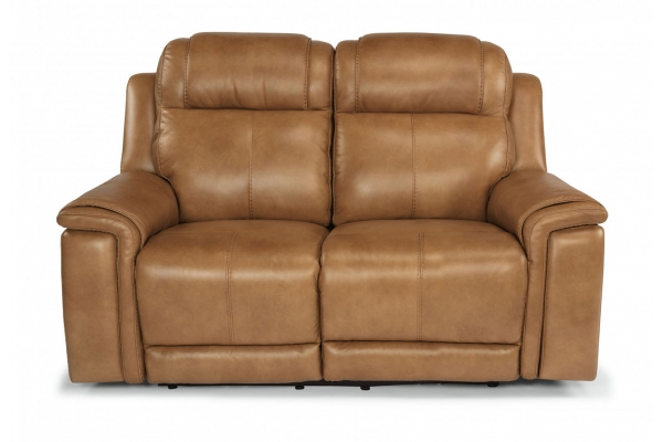 Large image of Flexsteel Kingsley Leather Power Reclining Loveseat With Power Headrests - 1128-60PH-295-72