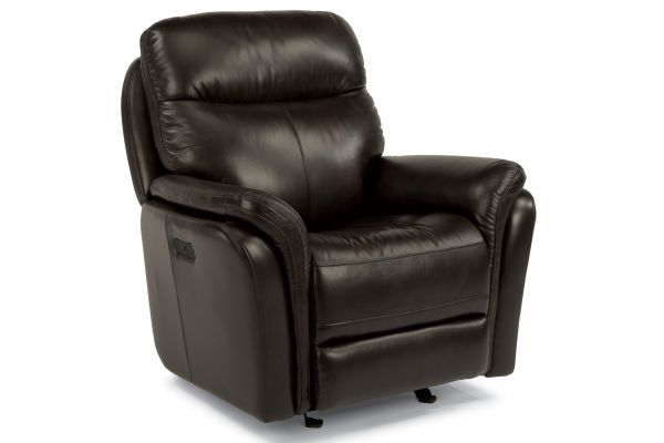 Large image of Flexsteel Zoey Leather Power Gliding Recliner With Power Headrest - 1653-54PH-360-70