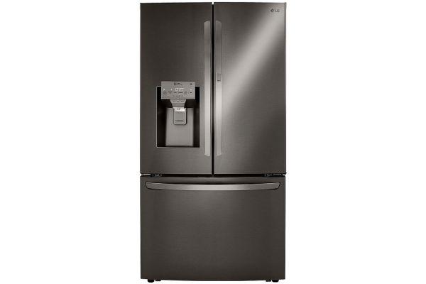 Large image of LG PrintProof Black Stainless Steel 30 Cu. Ft. Smart Wi-Fi Enabled Door-In-Door Refrigerator With Craft Ice Maker - LRFDS3016D