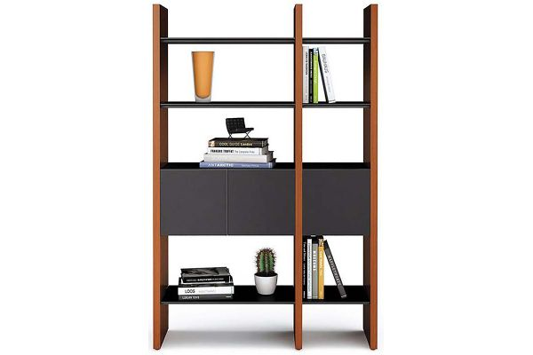 Large image of BDI Semblance 5402 Chocolate Stained Walnut And Black Storage Shelf - 5402-CB CWL/B