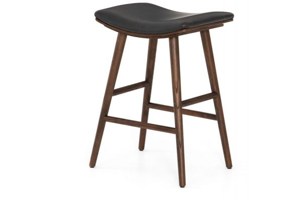 Large image of Four Hands Belfast Collection Distressed Black Union Counter Stool - VBFS-038-405