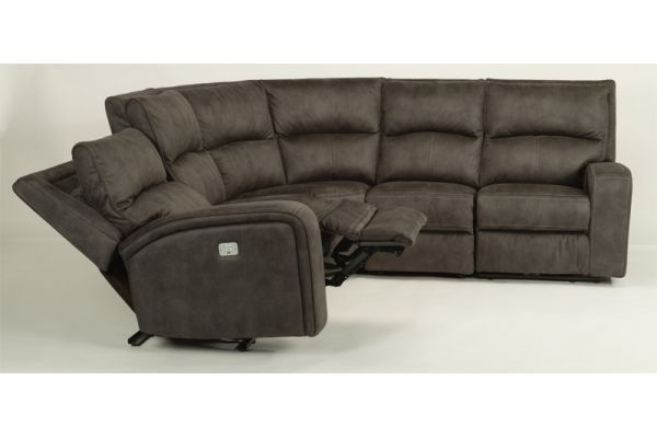 Flexsteel Black Rhapsody Fabric Power Reclining Sectional with Power Headrests - Package 2 - 1150-136-04-PACK2
