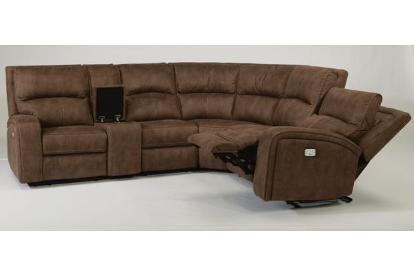 Flexsteel Brown Rhapsody Fabric Power Reclining Sectional with Power Headrests - Package 3 - 1150-136-72-PACK3