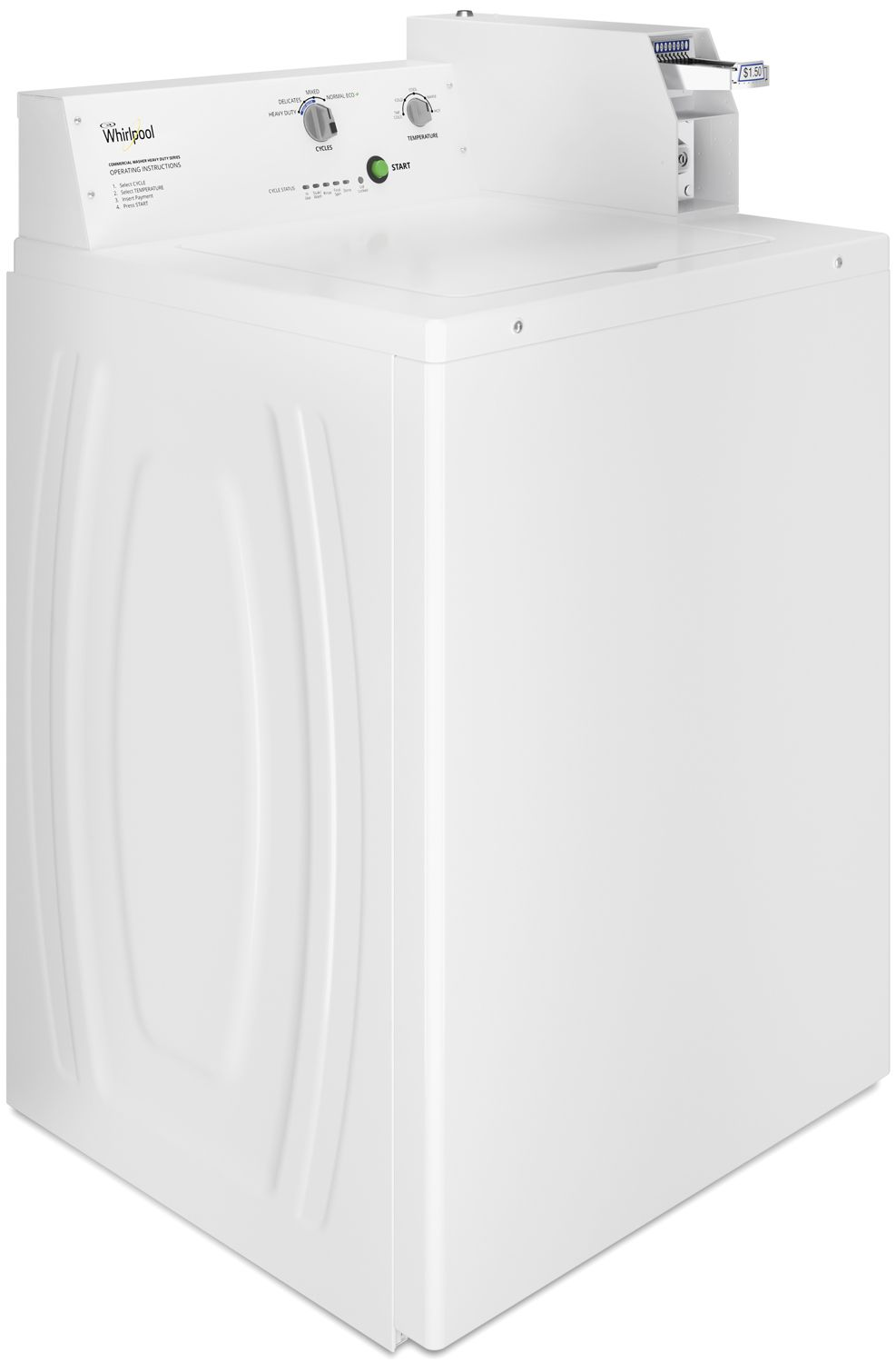 whirlpool white commercial top load washer cae2745fq