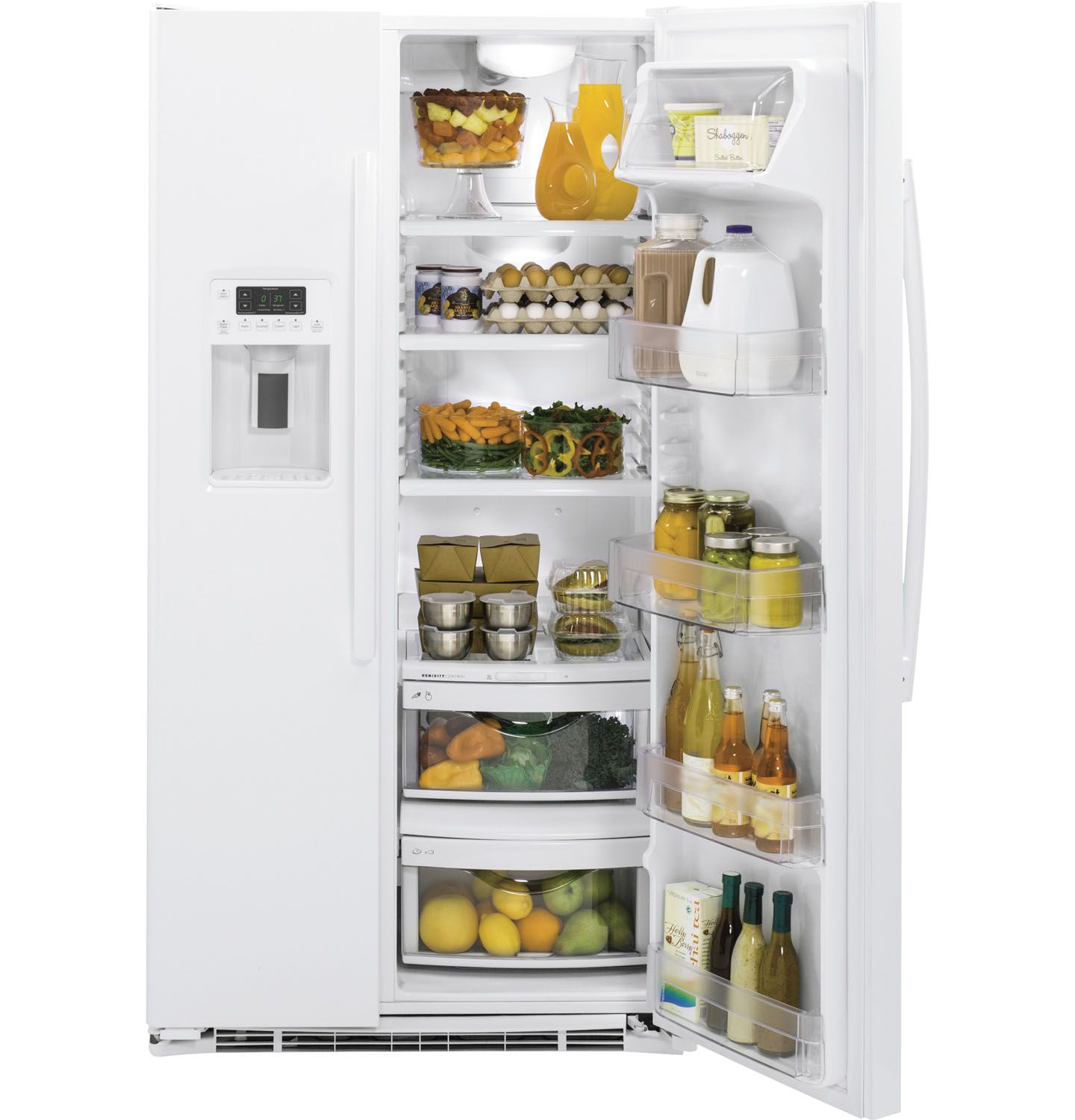 ge white side by side refrigerator gzs22dgjww. Black Bedroom Furniture Sets. Home Design Ideas