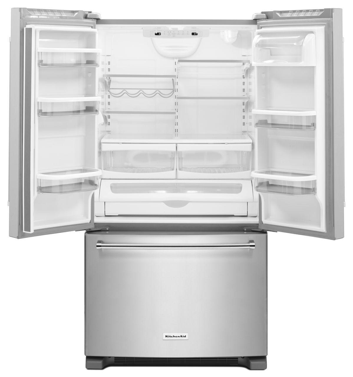 Kitchenaid 25 cuft french door refrigerator krff305ess main image 1 2 3 kitchenaid 25 cu ft white french door refrigerator rubansaba