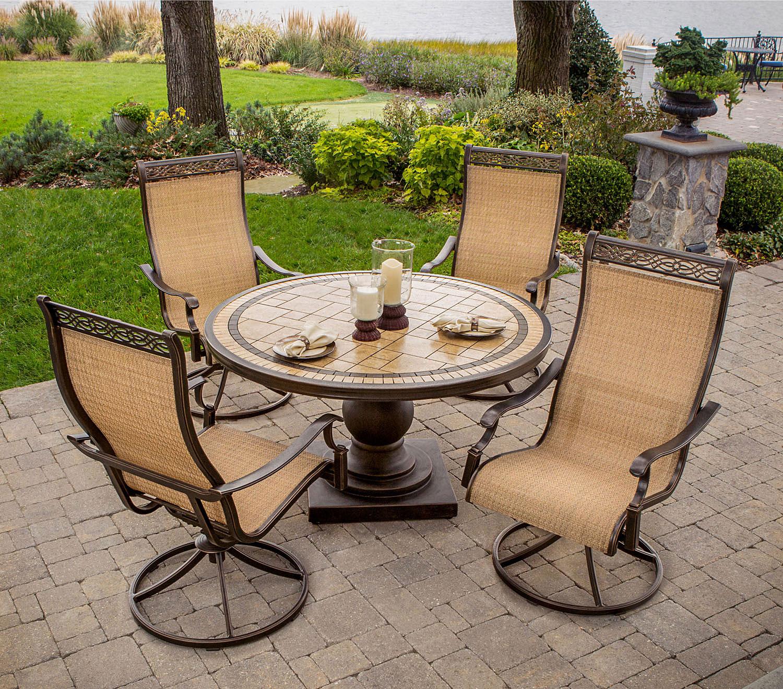 Hanover 5 Piece Outdoor Dining Patio Set MONACO5PCSW