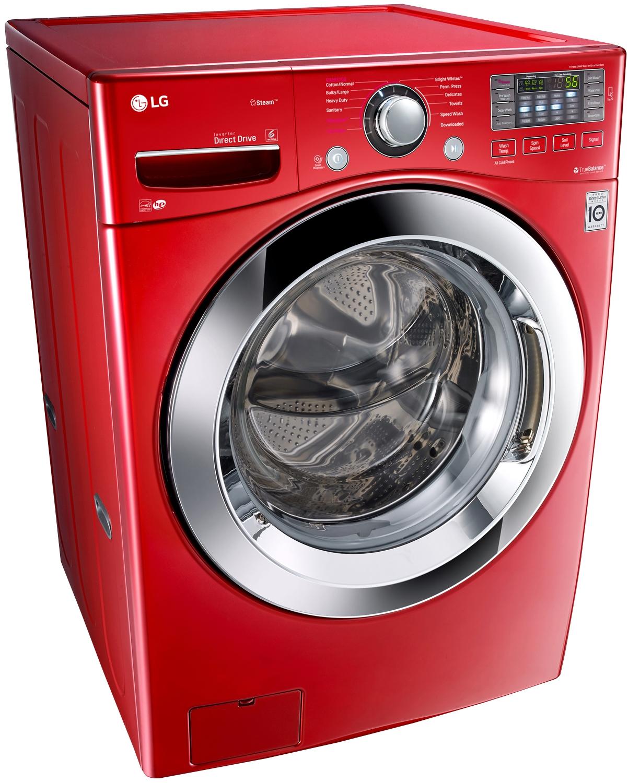 Lg Wild Cherry Red Front Load Steam Washer Wm3670hra