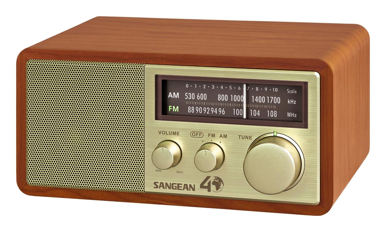 Sangean AM FM Gold Analog Wooden Cabinet Receiver WR 11SE