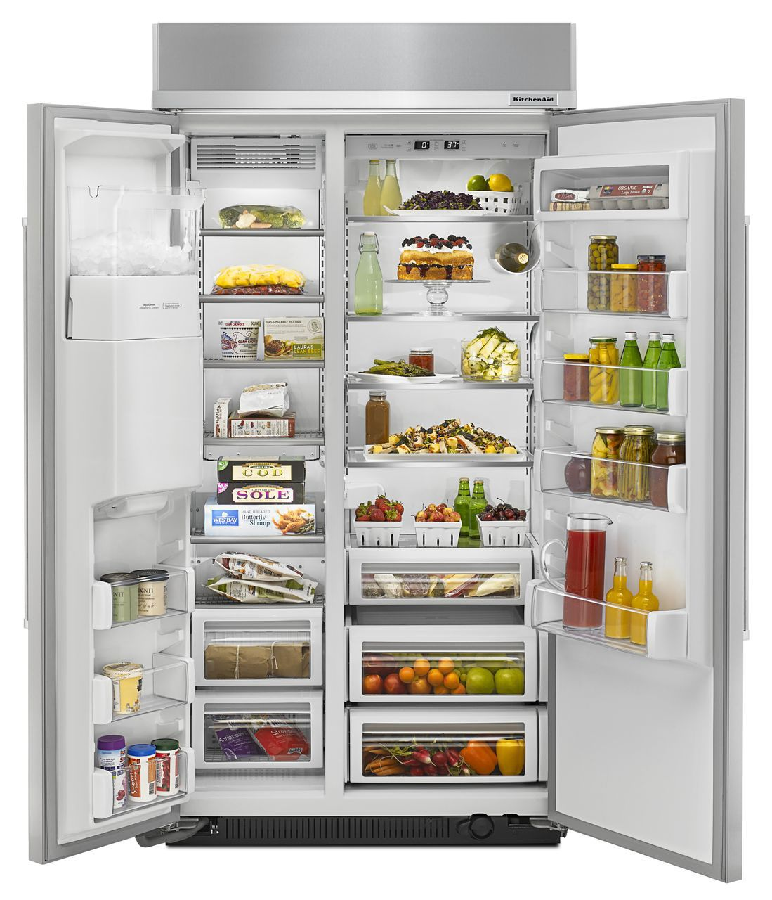 KitchenAid Built-In Side-By-Side Refrigerator KBSD612ESS