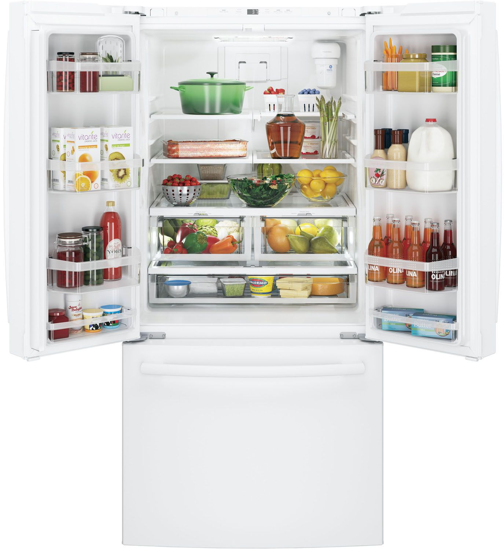 Ge white french door refrigerator gne25jgkww main image 1 2 rubansaba
