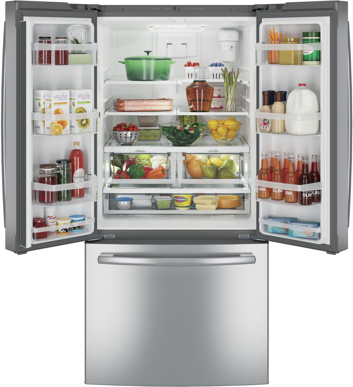 Ge Stainless Steel French Door Refrigerator Gne25jskss