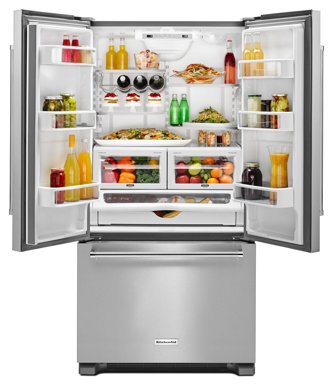 Kitchenaid stainless french door refrigerator krfc302ess main image 1 2 rubansaba