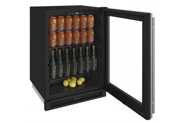 """U-Line 24"""" Glass Door Refrigerator - U-1224RGLS-00A"""