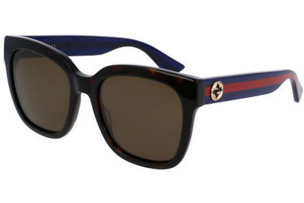 Gucci Brown Square Glitter Acetate Womens Sunglasses - GG0034S 004 54