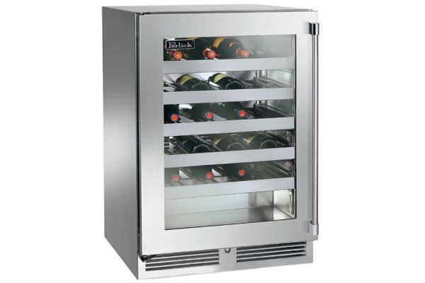 "Large image of Perlick 24"" Signature Series Stainless Steel Glass Door Left-Hinge Indoor Wine Reserve - HP24WS-3-3L"