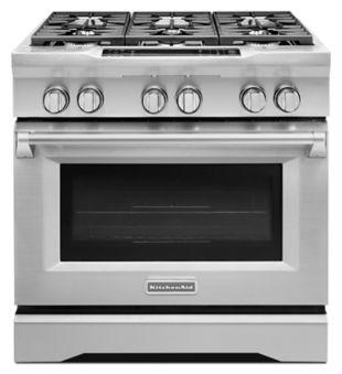 Kitchen Aid Stove   Kitchenaid 36 Stainless Dual Fuel Range Kdrs467vss