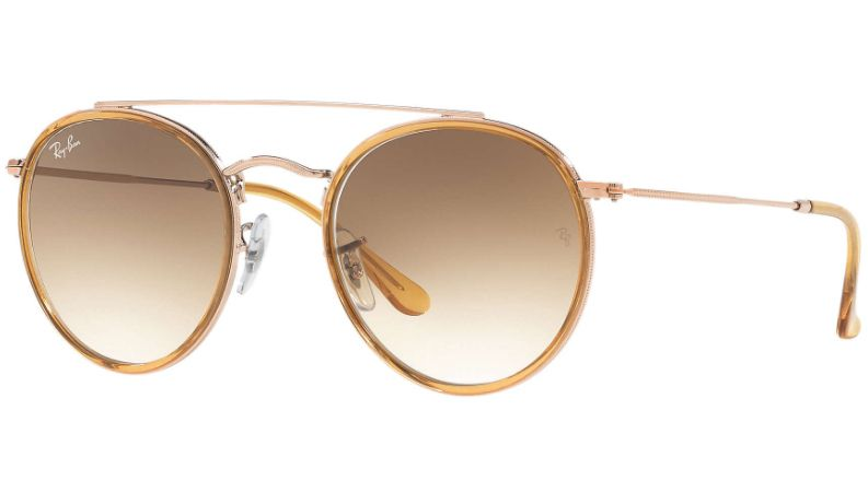 7159105673 Ray-Ban Round Double Bridge Light Brown Gradient Unisex Sunglasses -  RB3647N 907051