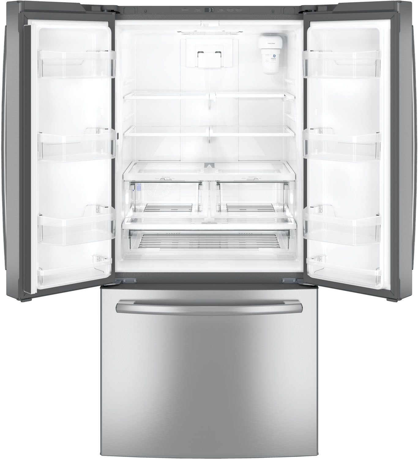 Ge stainless steel french door refrigerator gne25jskss ge french door refrigerator gne25jmkes rubansaba