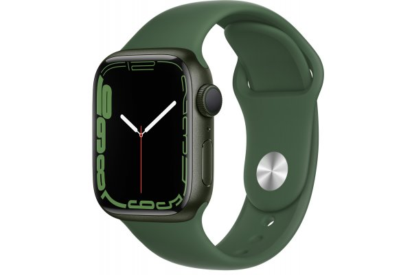 Large image of Apple Watch Series 7 GPS 41mm Green Aluminum Case With Clover Sport Band - MKN03LL/A