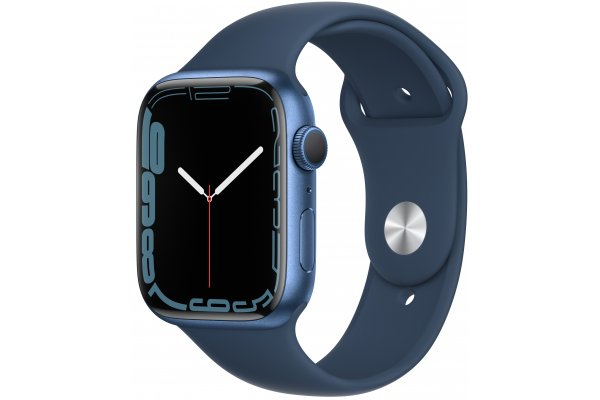 Large image of Apple Watch Series 7 GPS 45mm Abyss Blue Aluminum Case With Abyss Blue Sport Band - MKN83LL/A