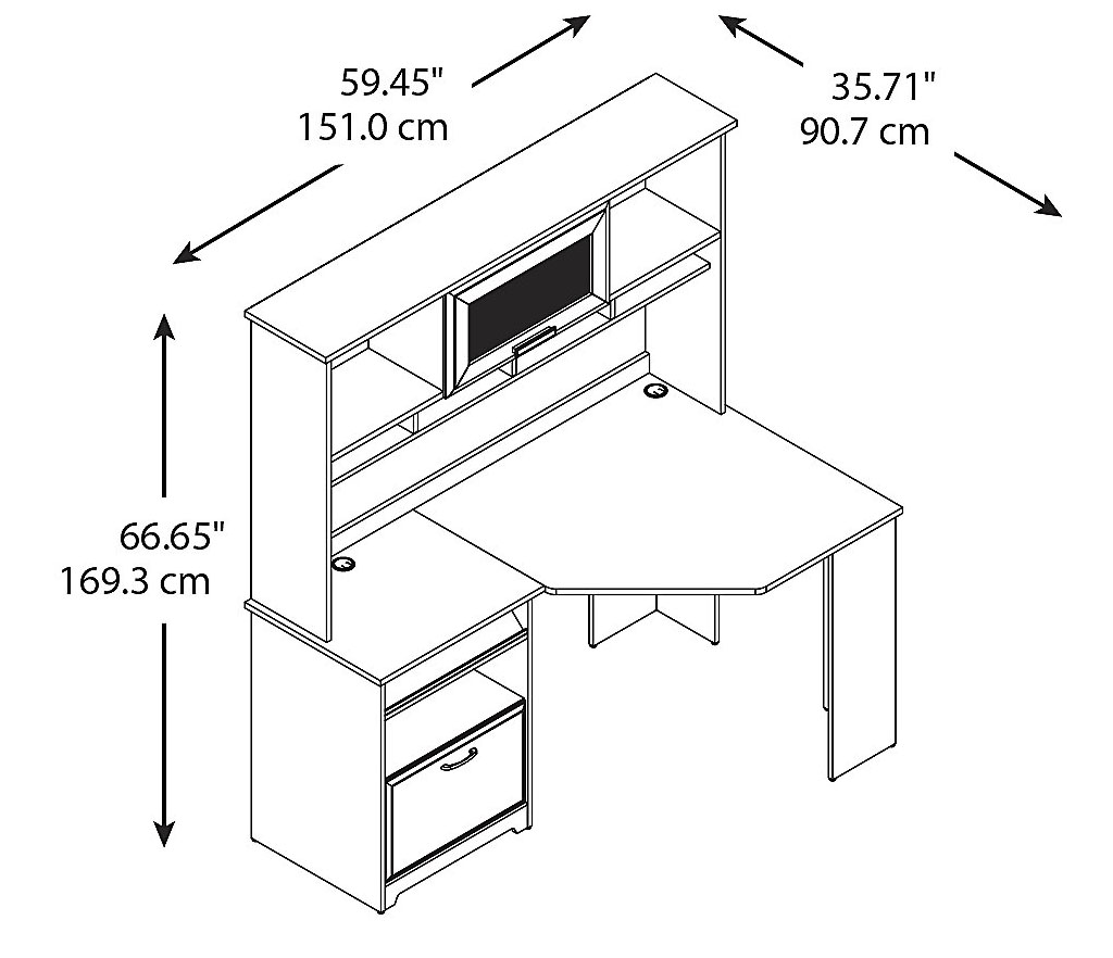 Bush Furniture Cherry Corner Desk With Hutch Cab008hvc
