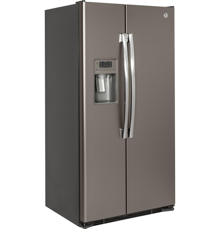 ge slate side by side refrigerator gzs22dmjes