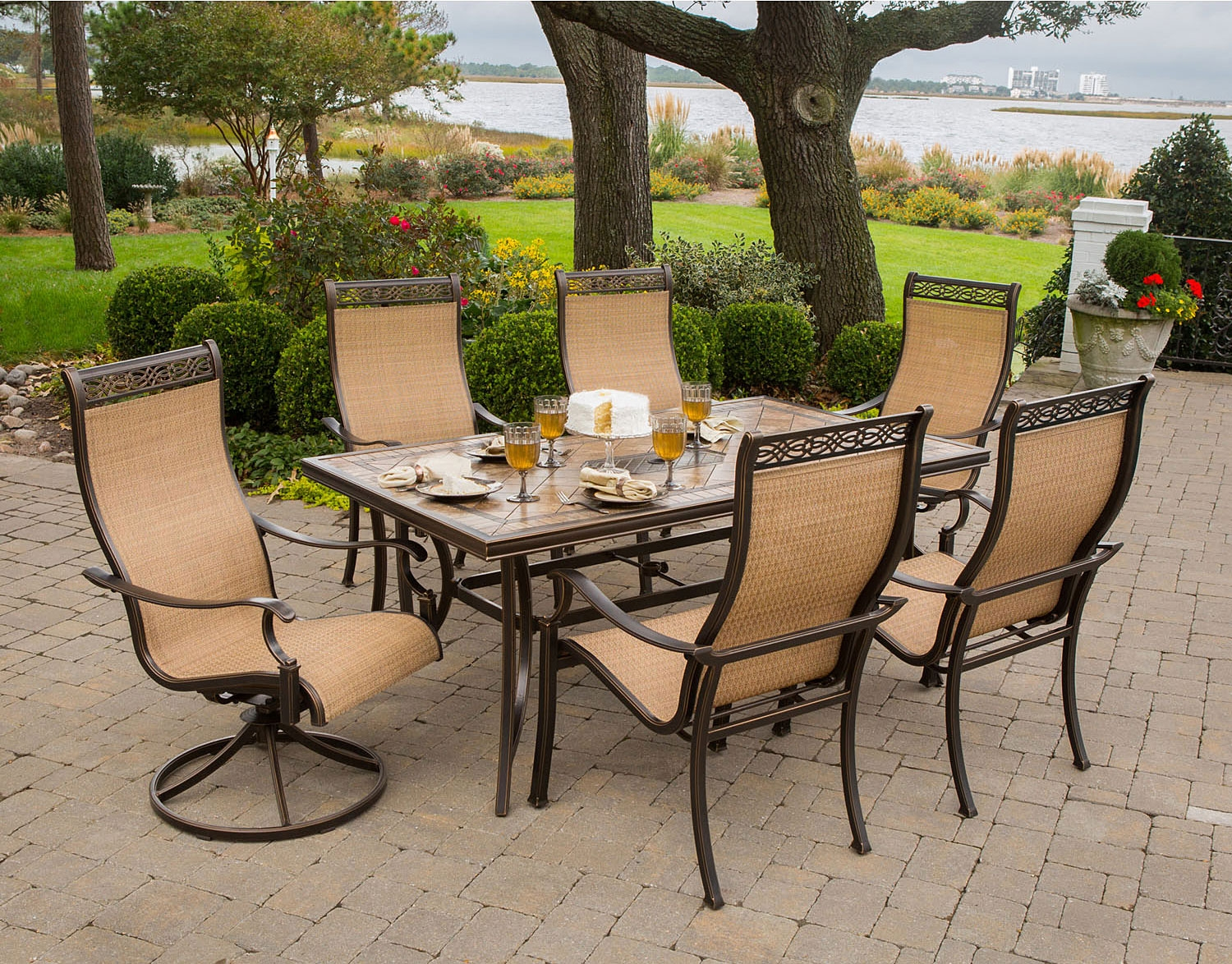 Main Image 1 2 3 4 5 6 7 8 - Hanover Brown 7-Piece Outdoor Dining Set - MONACO7PCSW