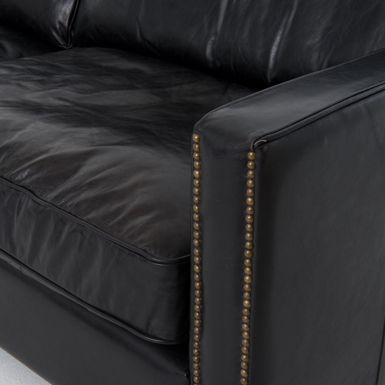 Four Hands 88 Black Leather Larkin Sofa Ccar 25 Osb