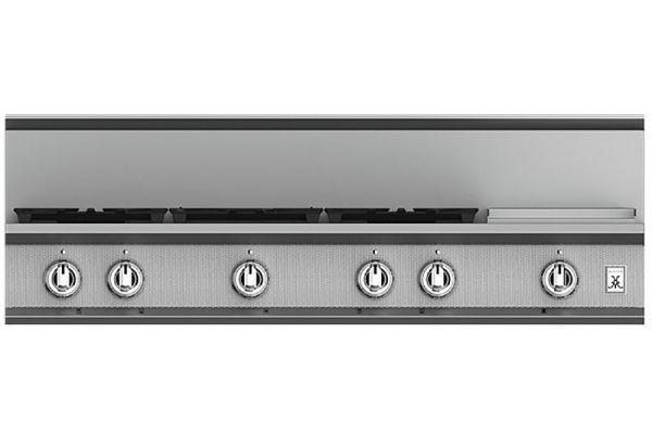 "Large image of Hestan KRT Series 48"" Steeletto 5-Burner Gas Rangetop With 12"" Griddle - KRT485GD-NG"