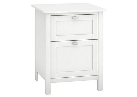 Bush Furniture White 24W 2 Drawer Pedestal - BDF124WH-03