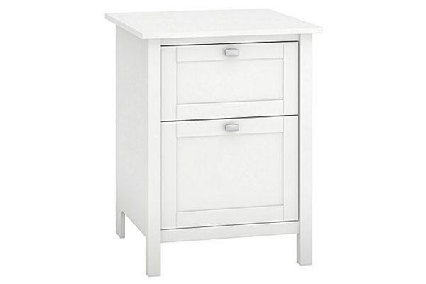 Large image of Bush Furniture White 24W 2 Drawer Pedestal - BDF124WH-03