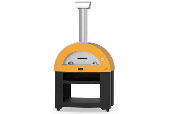 Large image of Alfa Allegro Yellow Wood-Fired Freestanding Outdoor Pizza Oven - FXALLE-LGIA