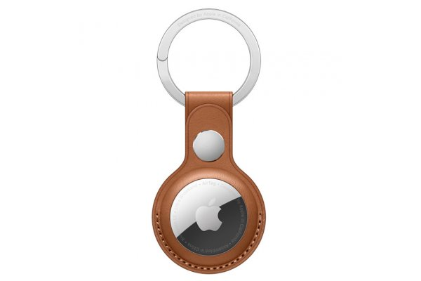 Large image of Apple AirTag Saddle Brown Leather Key Ring - MX4M2ZM/A
