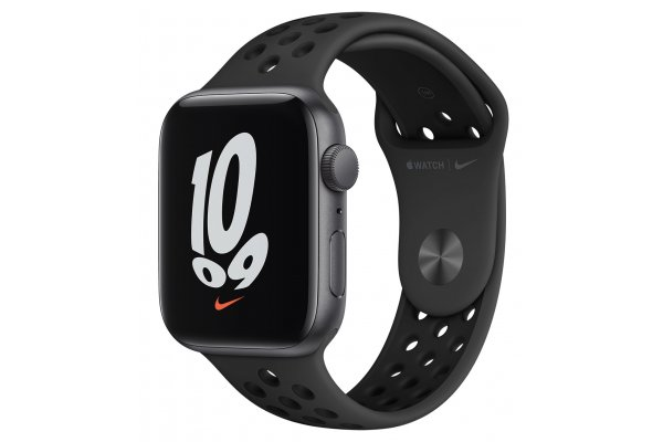 Large image of Apple Watch Nike SE GPS 44mm Space Gray Aluminum Case With Anthracite Black Sport Band - MKQ83LL/A