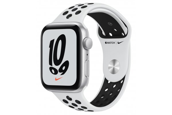 Large image of Apple Watch Nike SE GPS 44mm Silver Aluminum Case With Pure Platinum Black Sport Band - MKQ73LL/A