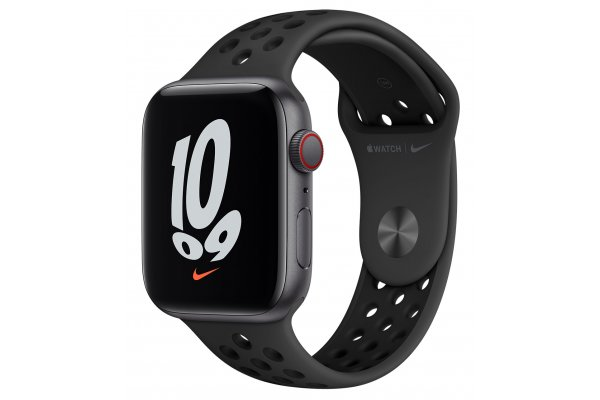 Large image of Apple Watch Nike SE GPS & Cellular 44mm Space Gray Aluminum Case With Anthracite Black Sport Band - MKRX3LL/A