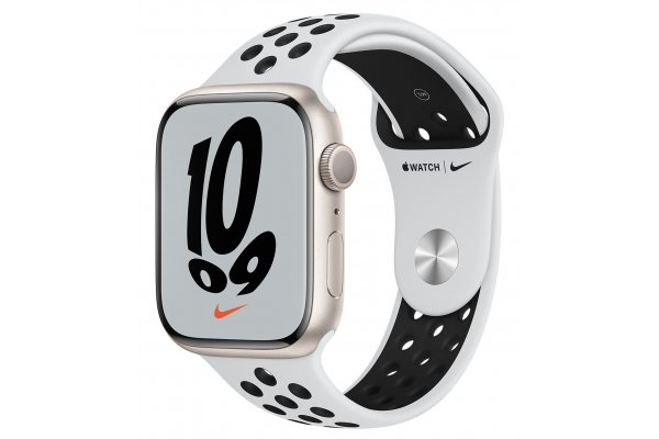 Large image of Apple Watch Nike Series 7 GPS 45mm Starlight Aluminum Case With Pure Platinum Black Sport Band - MKNA3LL/A
