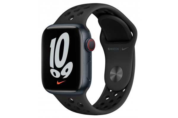Large image of Apple Watch Series Nike 7 GPS & Cellular 41mm Midnight Aluminum Case With Anthracite Black Sport Band - MKHM3LL/A