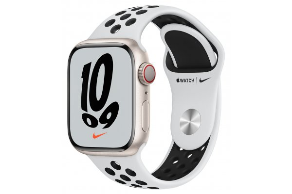 Large image of Apple Watch Nike Series 7 GPS & Cellular 41mm Starlight Aluminum Case With Pure Platinum Black Sport Band - MKHL3LL/A