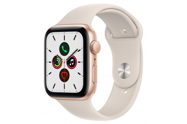Large image of Apple Watch SE GPS 44mm Gold Aluminum Case With Starlight Sport Band - MKQ53LL/A
