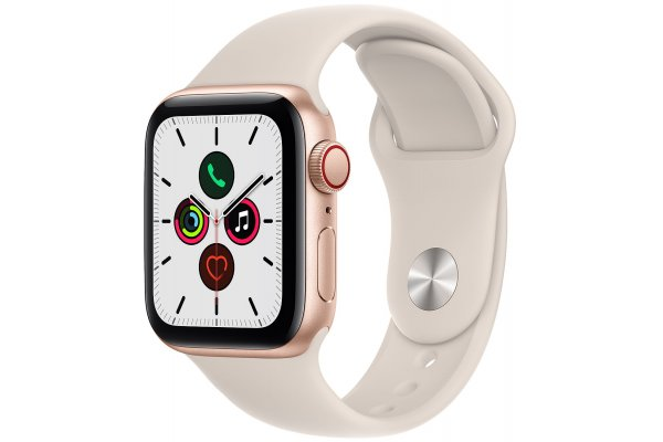 Large image of Apple Watch SE GPS & Cellular 40mm Gold Aluminum Case With Starlight Sport Band - MKQN3LL/A