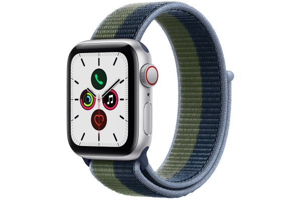 Large image of Apple Watch SE GPS & Cellular 40mm Silver Aluminum Case With Abyss Blue Moss Green Sport Loop - MKQM3LL/A