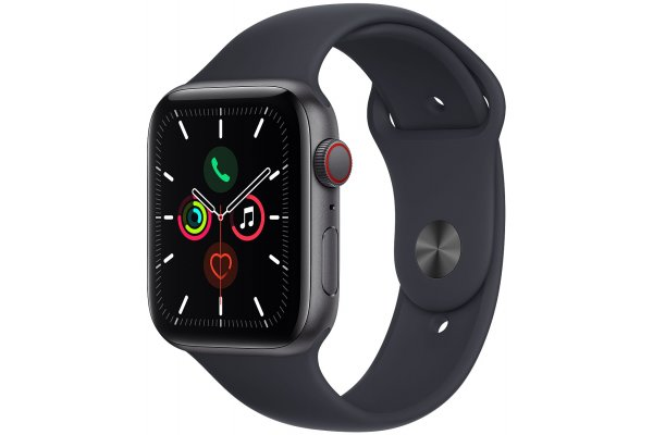 Large image of Apple Watch SE GPS & Cellular 44mm Space Gray Aluminum Case With Midnight Sport Band - MKRR3LL/A