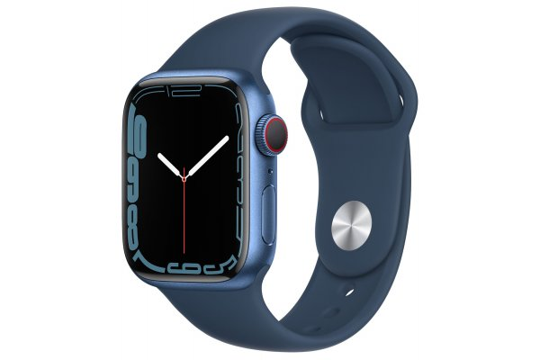 Large image of Apple Watch Series 7 GPS & Cellular 41mm Blue Aluminum Case With Abyss Blue Sport Band - MKHC3LL/A