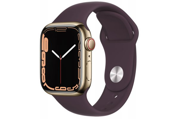 Large image of Apple Watch Series 7 GPS & Cellular 41mm Gold Stainless Steel Case With Dark Cherry Sport Band - MKHG3LL/A