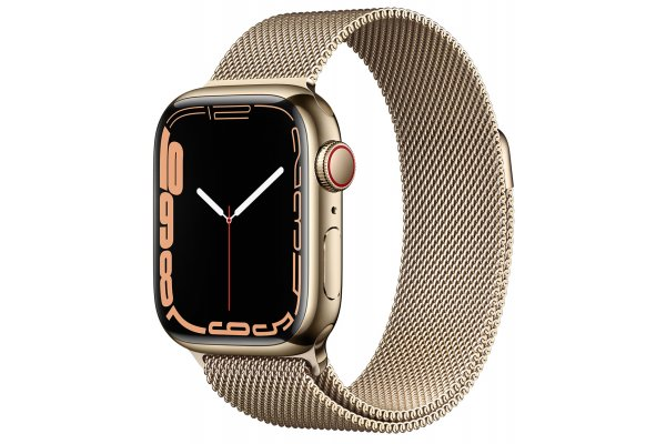 Large image of Apple Watch Series 7 GPS & Cellular 41mm Gold Stainless Steel Case With Gold Milanese Loop - MKHH3LL/A