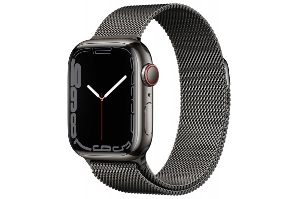 Large image of Apple Watch Series 7 GPS & Cellular 41mm Graphite Stainless Steel Case With Graphite Milanese Loop - MKHK3LL/A