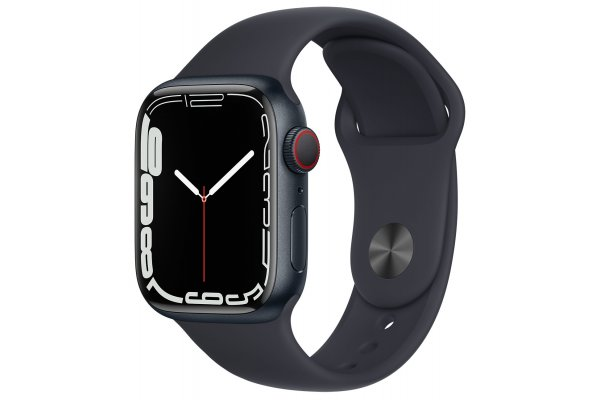 Large image of Apple Watch Series 7 GPS & Cellular 41mm Midnight Aluminum Case With Midnight Sport Band - MKH73LL/A
