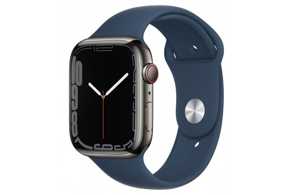 Large image of Apple Watch Series 7 GPS & Cellular 45mm Graphite Stainless Steel Case With Abyss Blue Sport Band - MKJH3LL/A